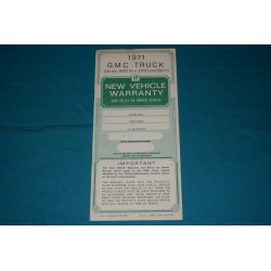 1971 GMC Jimmy / Sprint / Truck Owner Protection plan NOS