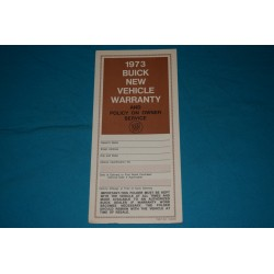 1973 Buick Owner Warranty book NOS