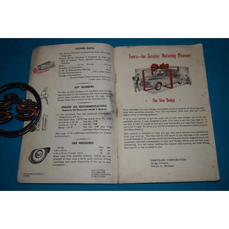 original 1947 dodge owners manual Volvo D12 Volkswagen G60 Engine