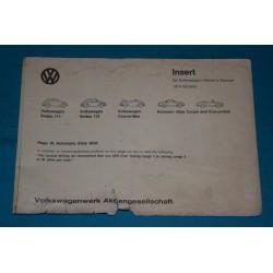 1974 Volkswagen Auto Stick insert