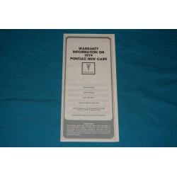 1979 Pontiac Warranty NOS