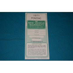 1971 Pontiac Warranty book NOS