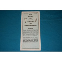 1970 Pontiac Warranty book Unused